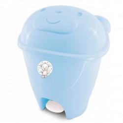 Lixeira Ursinho Com Pedal 12 Litros  Azul Bebê