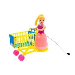Boneca A Corda Com Carro De Supermercado