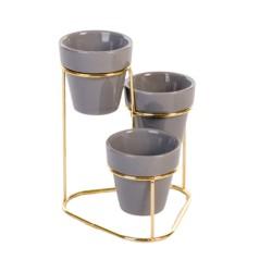 Vaso Decorativo Cinza Suporte Metal Com 3 Peças