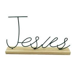 Enfeite Decorativo Jesus Com Base Em Madeira