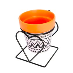 Vaso De Cerâmica Cachepô Decorado Com Suporte Preto