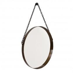 Espelho Decorativo Redondo Com Alça Preto 23cm