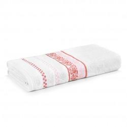 Toalha De Banho Clarissa Branca/Pink