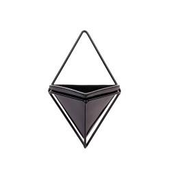 Vaso Cerâmica Triângulo Com Suporte Em Metal