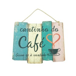 Placa Decorativa Madeira Coffe