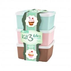 Kit Potes De Plástico 3 Peças 500ml