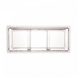 Petisqueira Cristal Retangular 3 Divisórias Pearl