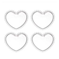 Conjunto Pratos Cristal Coração Pearl 4 Peças