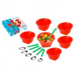 Conjunto De Plástico Para Sobremesa Laranja Com 12 Peças
