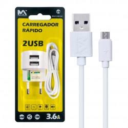 Carregador Rápido Para Iphone Com 2 Saídas USB 3.6A