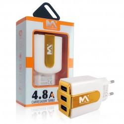 Fonte De Carregador Turbo Com 3 Saídas USB 4.8A
