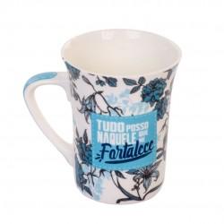 Caneca De Porcelana Muddy Flores 300ml