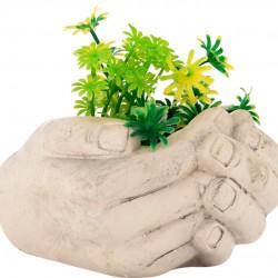 Vaso Decorativo Mão Com Planta Cerâmica