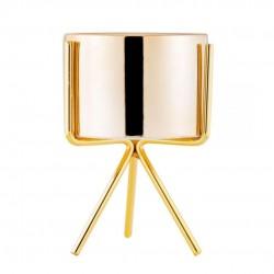 Vaso Decorativo Gold Cerâmica Com Tripé